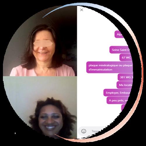 Vignette ronde conversation et échange en francais par visio conférence