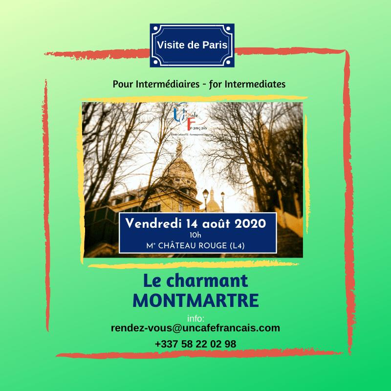 Vignette carrée pour la visite de Montmartre du 14 aout